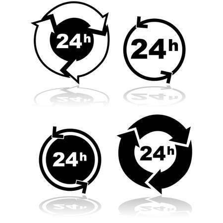 representations: Icon set showing four different representations of a 24-hour service