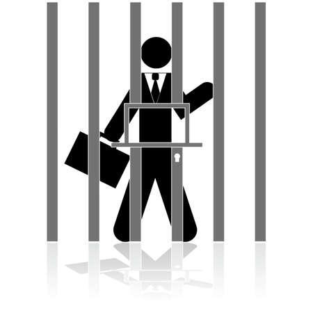 illustration showing a businessman behind bars, in prison Çizim