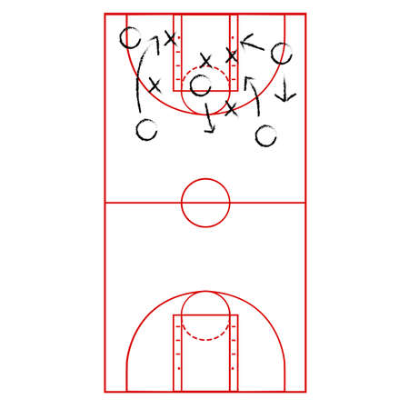 tactic: illustration showing a basketball court drawn onto a flip board with arrows representing a game plan Illustration