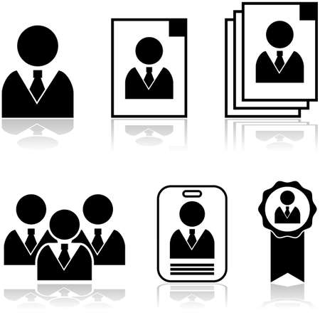 new employee: Icon set showing different stages in the selection and hiring of new employee