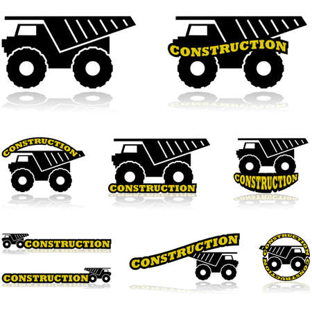 volteo: Icono de conjunto que muestra un camión de construcción combinado con diferentes variaciones de la construcción de la palabra
