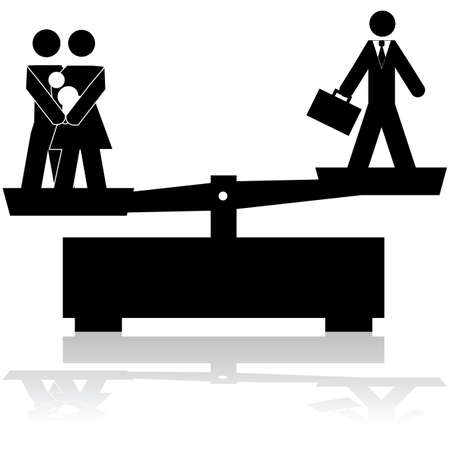men at work sign: illustration showing a scale trying to balance a family and a businessman