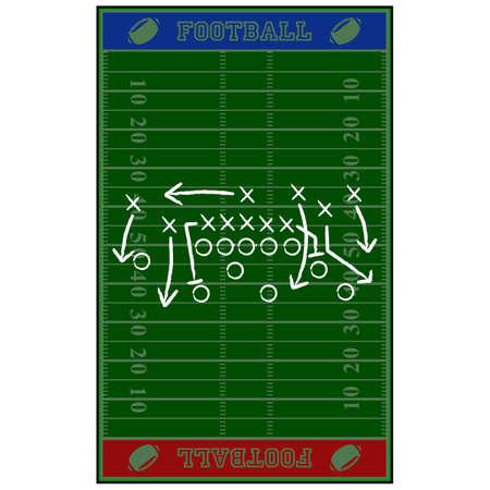 それ以上のスケッチ ゲームの計画とアメリカン フットボール フィールドを示す図