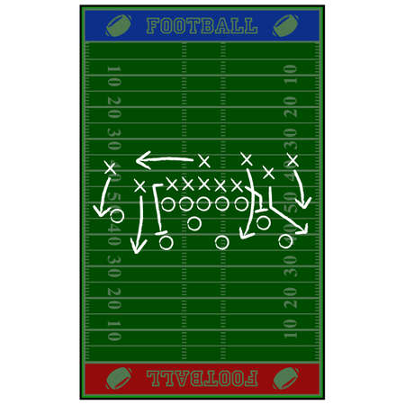 illustration showing an American football field with a game plan sketched over it