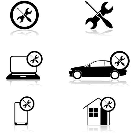 laptop repair: Icon set showing a wrench and a screwdriver paired with a computer, a phone, a car and a house