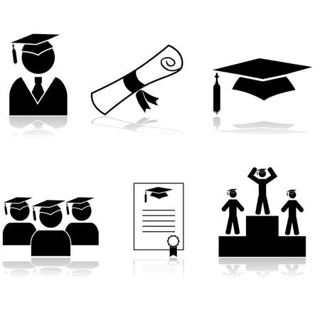 Icon set showing students graduating from school or university Banco de Imagens - 32228000