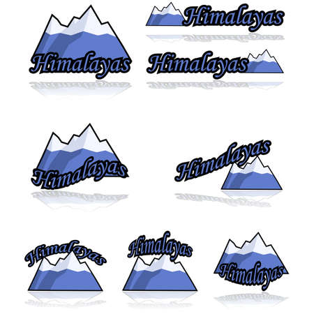 tough: Icon set showing a cartoon range of mountains combined with different variations of the word Himalayas