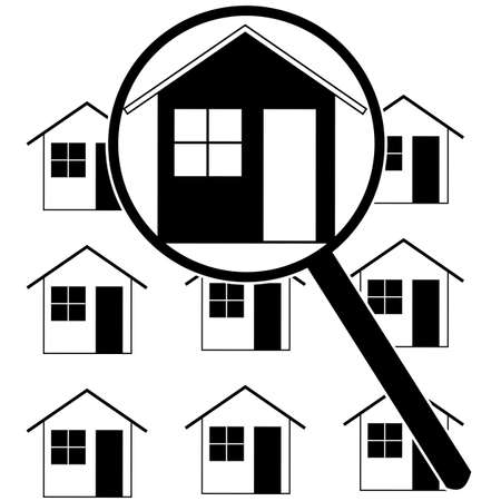 row houses: Icon set showing a magnifying glass identifying a home among rows of houses Illustration