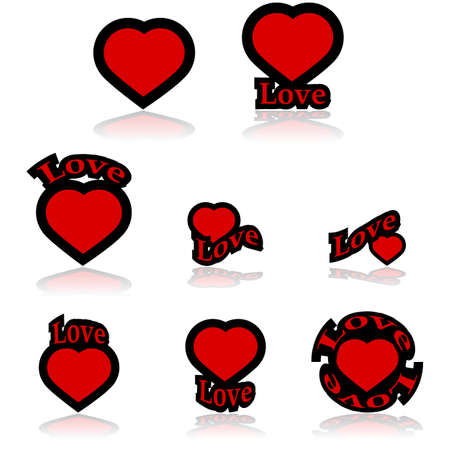 Icon set showing a red heart combined with different variations of the word love Vector