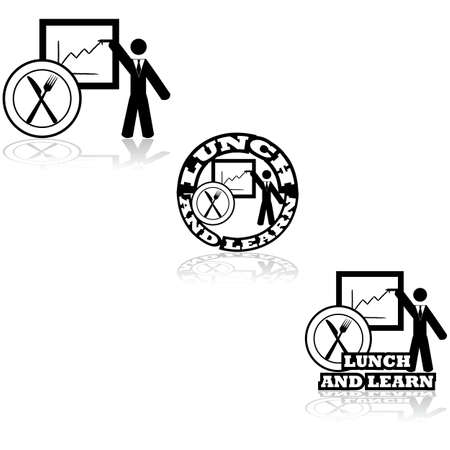 business dinner: Concept illustration set showing a business meeting paired with a restaurant icon Illustration