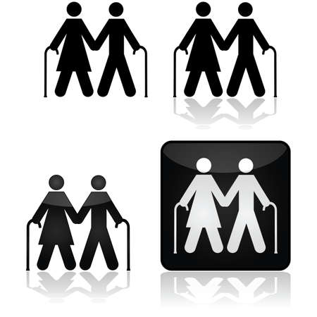 older couple: Concept illustration showing an older couple walking with canes Illustration