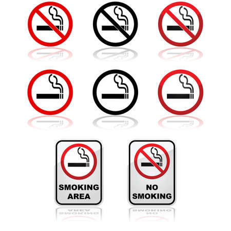 Icon set showing traffic signs for smoking and non-smoking areas Иллюстрация