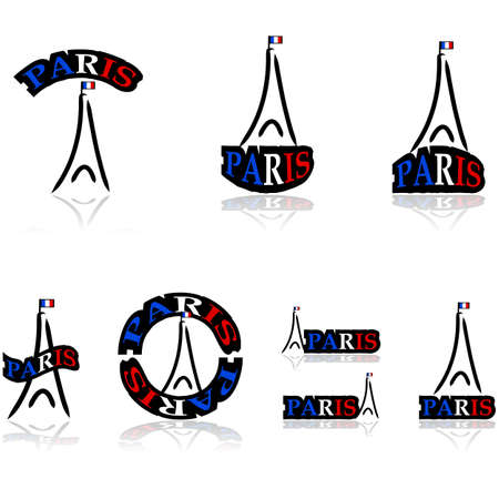 Icon set showing a free interpretation of the Eiffel tower combined with different variations of the word Paris