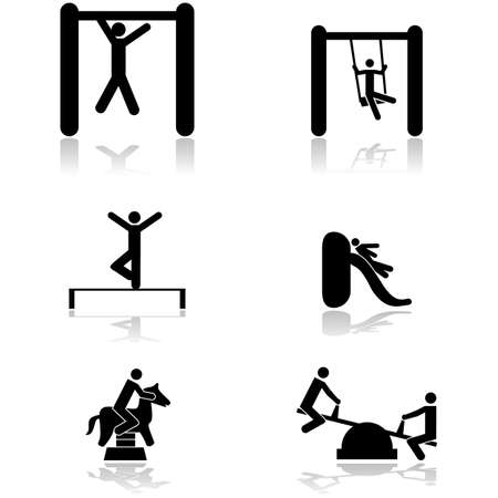 Icon set showing children playing in different toys of a playground Vector