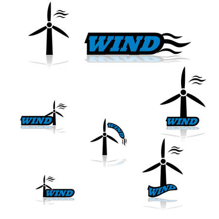 force of the wind: Icon set showing a wind turbine combined with different variations of the word wind