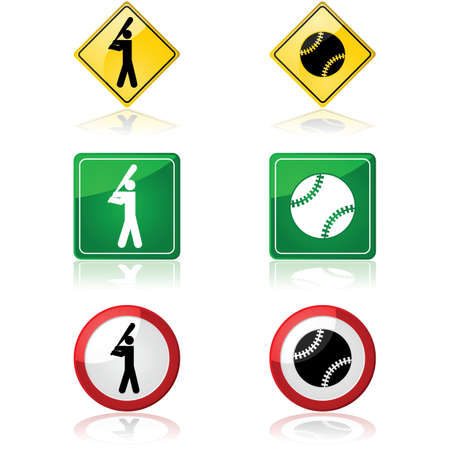 inning: Set of traffic signs showing a baseball and a baseball player