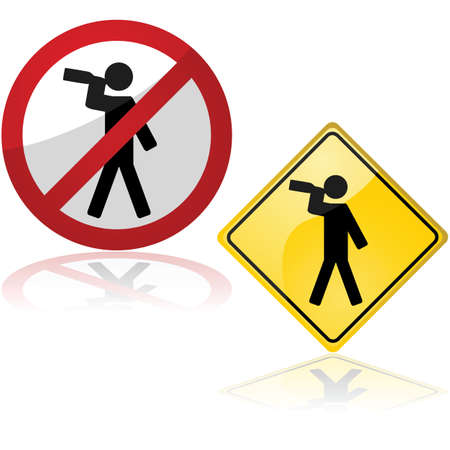 one person: Set of two traffic signs showing one person drinking from a bottle Illustration