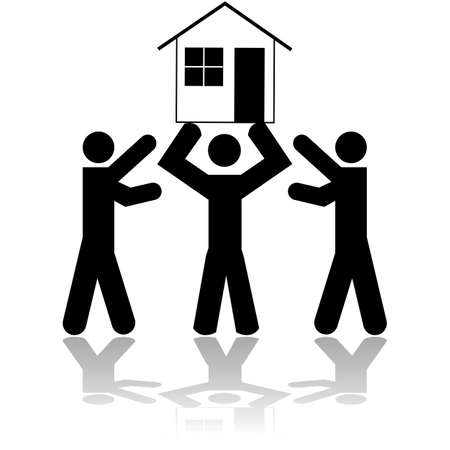 try: Concept illustration showing a person lifting a house while two other people try to get it from him