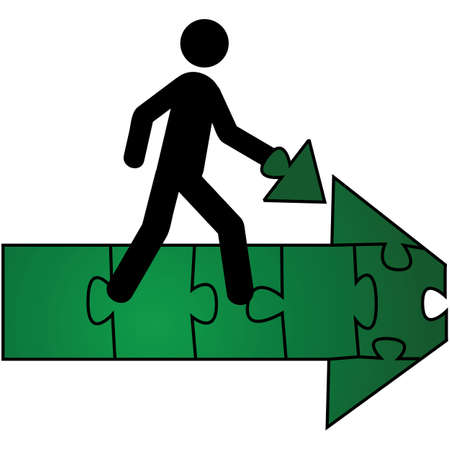 pointing up: Concept illustration showing a person carrying the last piece of a puzzle that makes up a green arrow pointing forward