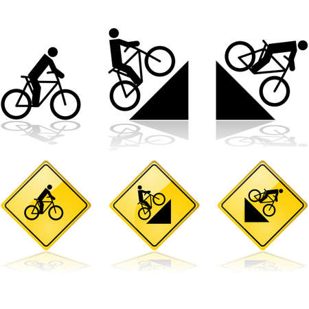Signs showing a person riding a bicycle in flat terrain and also up and down a hill Vector