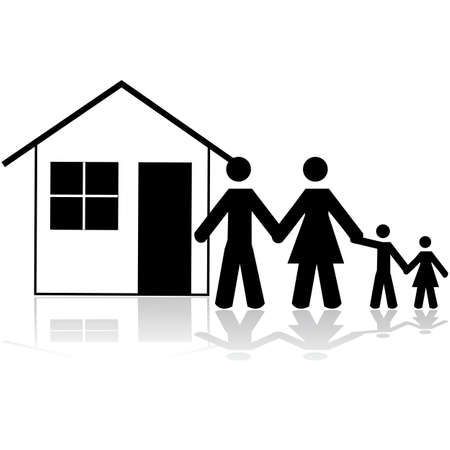 simple house: Icon illustration showing a family in front of a simple house