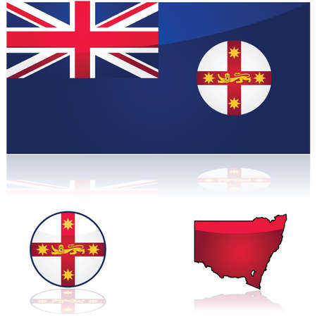 down under: Illustration showing the flag and map of the state of New South Wales, in Australia