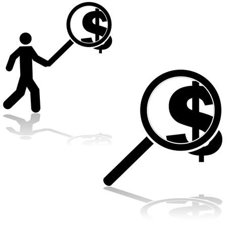 Concept illustration showing a man searching for money and a magnifying glass over a dollar sign Vector