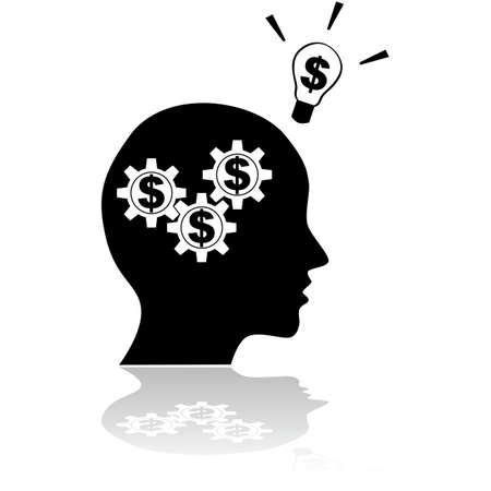 person thinking: Ilustraci�n concepto de una persona piensa en el dinero que tiene una idea relacionada financiera