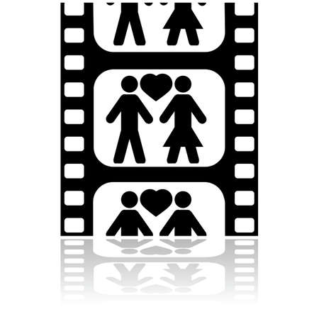 Icon illustration showing a couple in love inside a film strip Vector