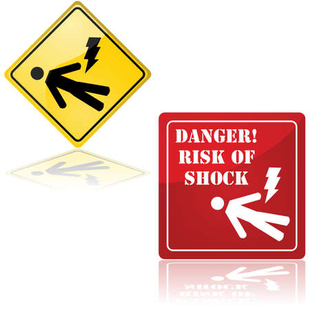 man lying down: Set of two signs showing a man lying down and a lightning bolt, representing the danger of electric shock