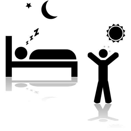 Pictogram illustratie toont een persoon slapen 's nachts en een ander wakker worden tijdens de dag
