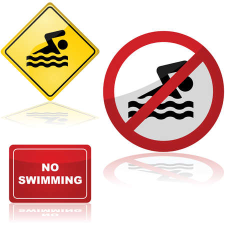 no swimming: Icon set showing traffic signs for swimming and no swimming areas