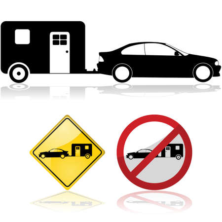 simple life: Icon illustration of a trailer attached to a car