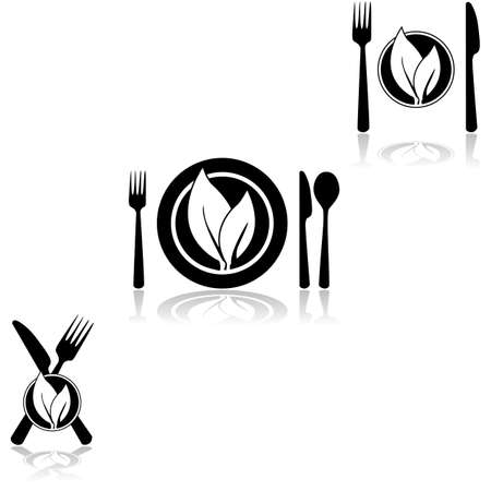 Icon set showing plates and cutlery combined with a couple of leaves, symbolizing vegetarian or vegan food Çizim