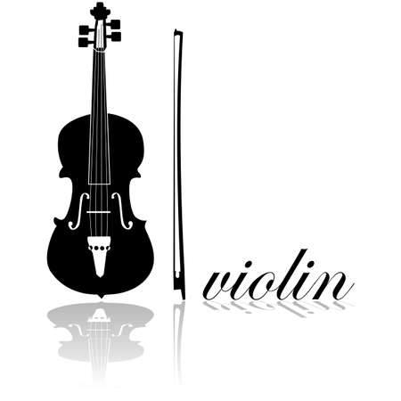 virtuoso: Icon showing a violin combined with the word violin written in cursive mode