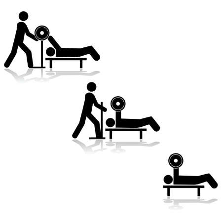 someone: Icon illustration showing a person lifting weights with the help of someone else Illustration