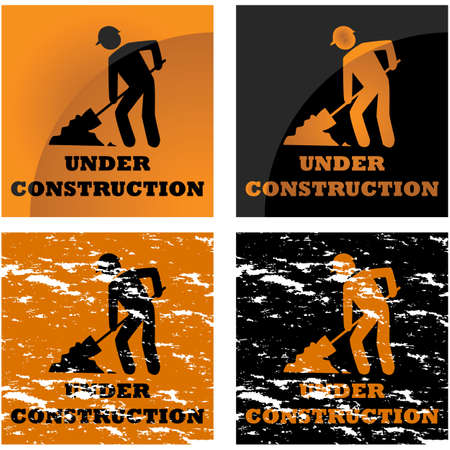applied: Icon illustration showing four different styles applied to a construction notice sign