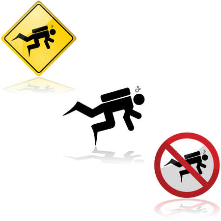 Icon set showing a diver and related signs allowing or forbidding the practice of the activity