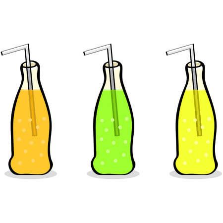 soda bottle: Cartoon illustration showing three different soft drink bottles Stock Photo
