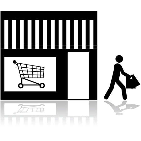 market place: Icon showing a person walking out of a store carrying bags