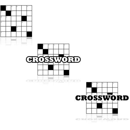crossword puzzle: Icon set of a small section of a crossword puzzle Stock Photo