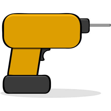 electric hole: Cartoon illustration showing a portable drill tool Stock Photo
