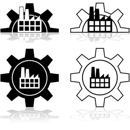 Concept illustration showing a factory combined with a gear wheel
