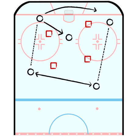 tactic: Concept illustration showing half of a hockey rink with indications for a game plan tactic Stock Photo