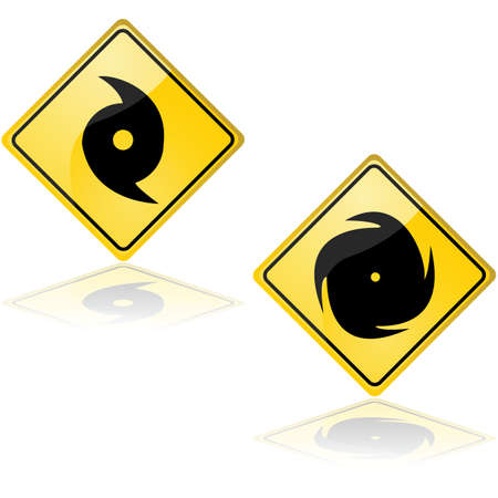 hurricane: Icon set showing a couple of traffic signs alerting about a hurricane Stock Photo
