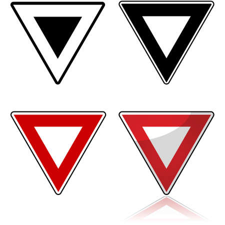 Icon set showing different styles applied to the yield traffic sign