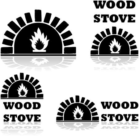 Icon set showing a wood stove combined with the words