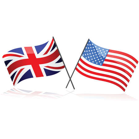 diplomatic: Illustration showing the Union Jack flag together with the United States flag Stock Photo