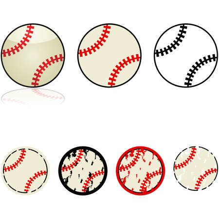 Illustration set featuring different design styles for a baseball Illustration
