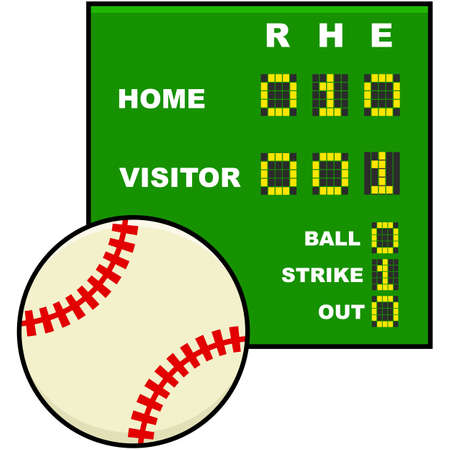 baseball cartoon: Icon illustration showing a baseball in front of a simplified scoreboard Illustration